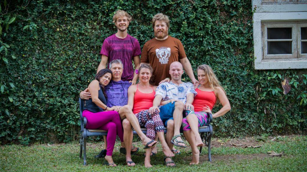The Partner Acrobatics Teaching Team: (From left to right) Gabe, Steve, Mimi, Niko, Emily, Martin, Zsazsa